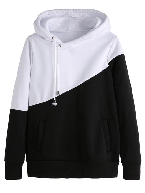 Hoodie Killa Jaket All Colour color block hooded sweatshirt with pocketsfor romwe
