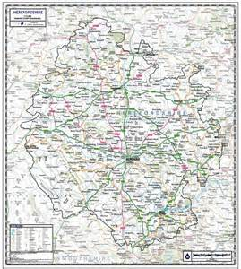 hereford map herefordshire county wall map paper laminated or