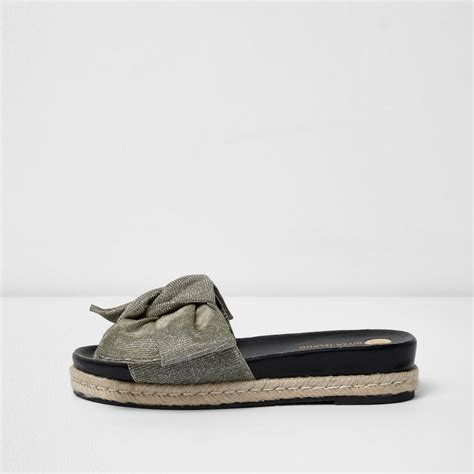 River Islands Bow Trim Sandal by Lyst River Island Silver Glitter Bow Sliders In Gray