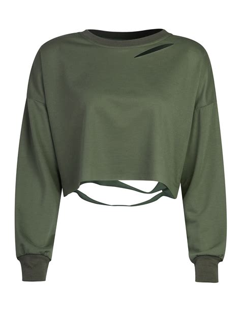Turtle Neck Hnm Lace Crop Top green ripped drop shoulder cropped sweatshirt