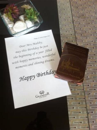 birthday message/chocolates picture of grandior hotel