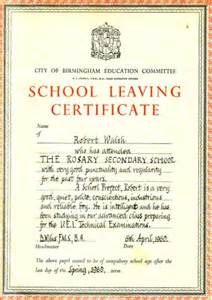 Leaving Certificate Template by School Leaving Certificate 1960 Rosary School