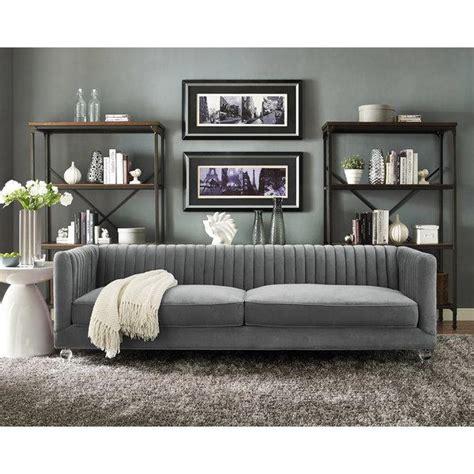 dark gray velvet sofa abbyson living claridge dark grey velvet fabric tufted sofa