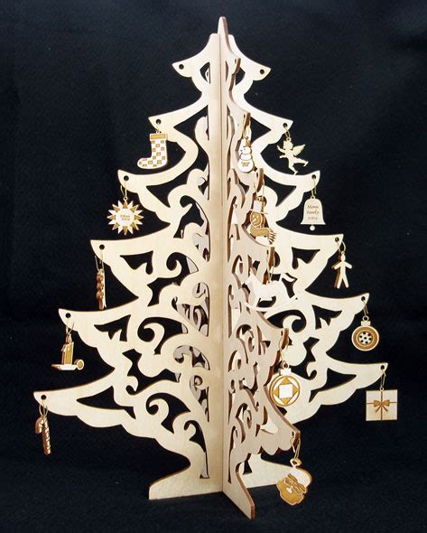 table top christmas tree with ornaments laser cut
