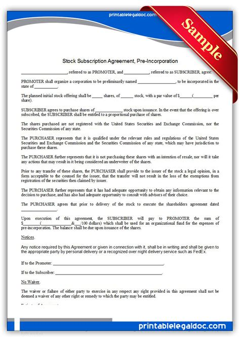 Free Printable Stock Subscription Agreement Pre Incorporation Form Generic Stock Subscription Agreement Template
