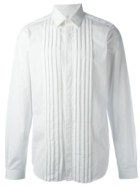 valentino pleated shirt in white for lyst