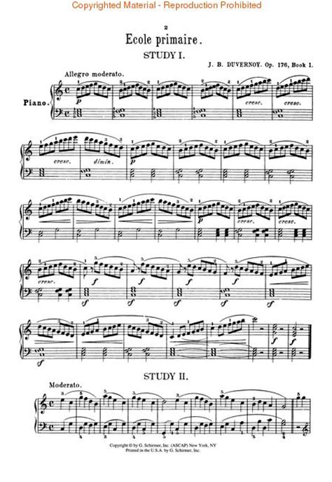 Buku Piano Duvernoy Op 176 sheet duvernoy ecole primaire op 176