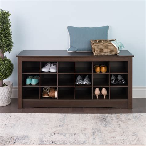 shoe bench shoe storage bench 18 pair cubbie organizer furniture entryway seat espresso ebay