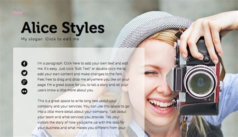 photography bio template personal website templates portfolio cv wix