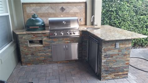 Green Kitchen Backsplash Tile creative outdoor kitchens big green egg creative outdoor