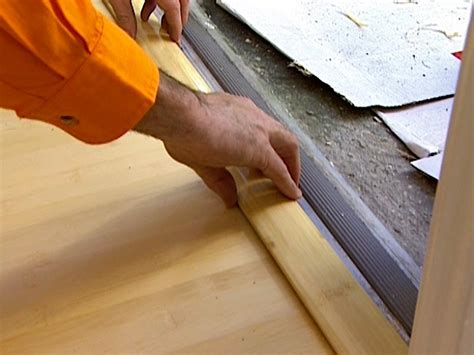 How To Install A Threshold For An Exterior Door Installing Laminate Flooring Hgtv