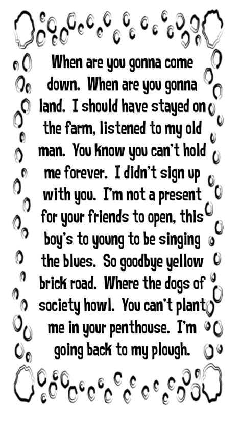 song lyrics elton goodbye yellow brick road song lyrics