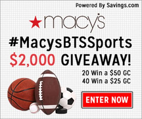 Macys Discount Gift Card - enter to win a 20 50 macy s gift card 60 winners macysbtssports become a