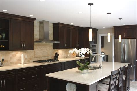 dark and light kitchen cabinets backsplash for dark cabinets and light countertops kitchen