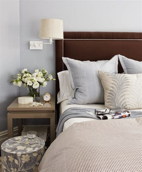 blue  brown bedroom design transitional bedroom massucco warner miller