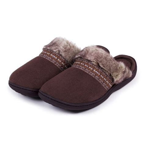 isotoner woodlands slippers isotoner woodland mule slippers with fur cuff ebay