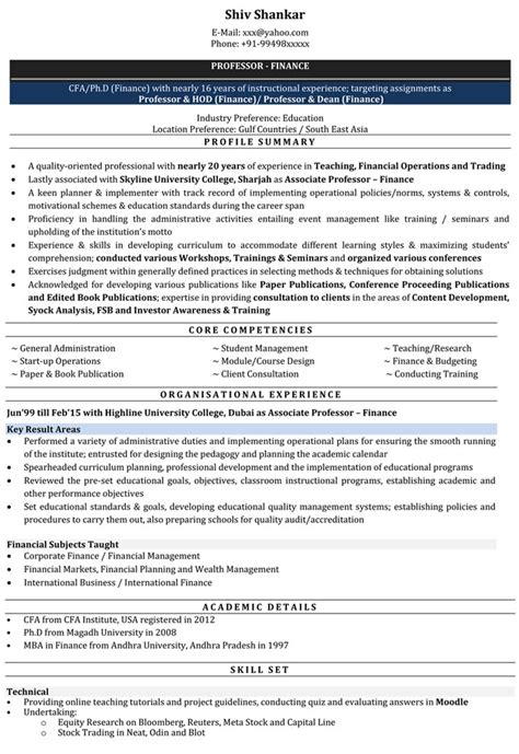 resume format for lecturer resume sles from naukricom