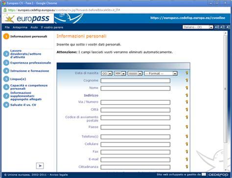 Formato Europeo Curriculum Vitae Da Compilare On Line Curriculum Vitae Compila Il Tuo Curriculum Vitae Su