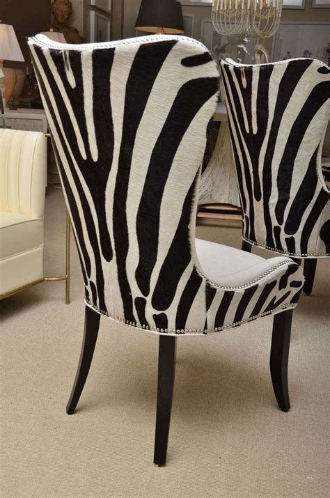 Zebra Dining Chairs Set Of Eight Zebra Stenciled Cowhide Dining Chairs At 1stdibs