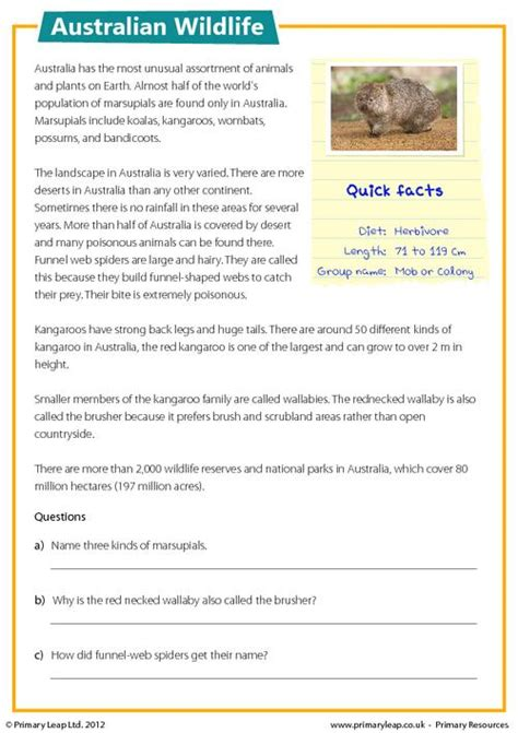 reading comprehension australian wildlife primaryleap