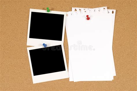 notice board design powerpoint two polaroid photo frames pinned to a cork board