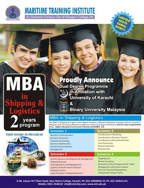 Mba Shipping Logistics by Mahmoodi Institute Of Management Science