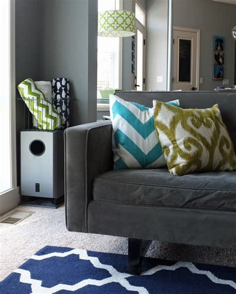 How To Place A Throw On A Sofa by Another Way To Add Color To A Room Teal And Lime By