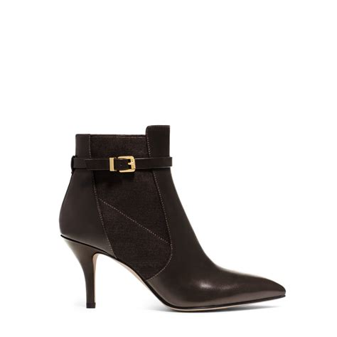 michael kors woods leather ankle boot in brown chocolate