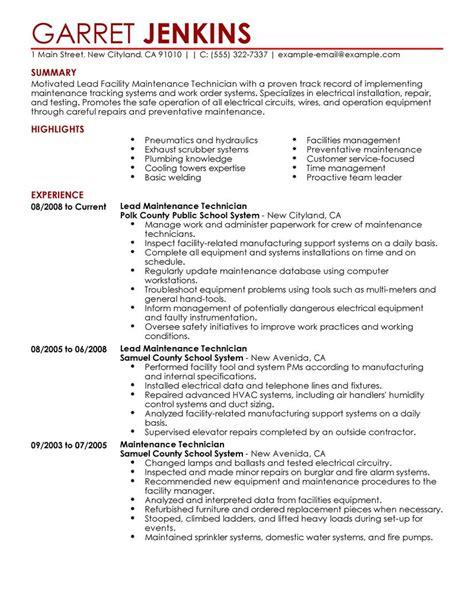 Maintenance Resume Samples – Maintenance Technician Resume Examples