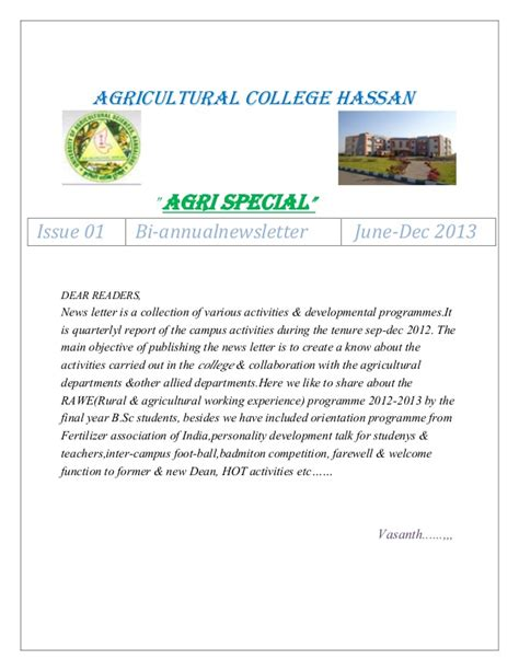 Uas Letter Of Agreement News Letter From Agriculturl College Hassan Uas Gkvk Bangalore