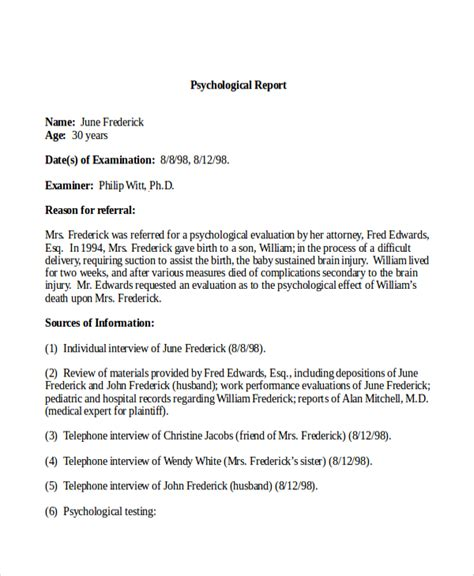 9 Sle Psychological Reports Pdf Word Pages Sle Templates Psych Report Template