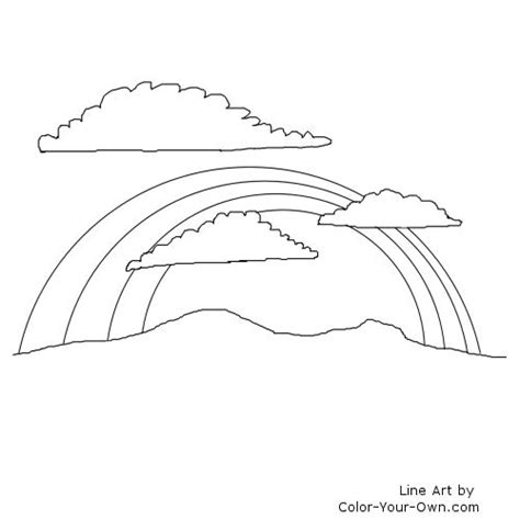 free coloring pages of rainbow with clouds
