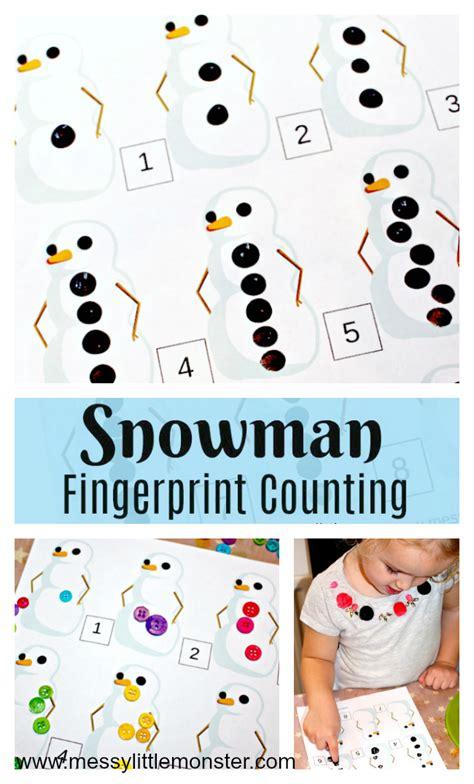 printable snowman activities for preschool printable snowman fingerprint counting messy little monster