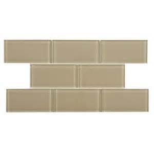 home depot subway tile merola tile tessera subway sandstone 3 in x 6 in glass