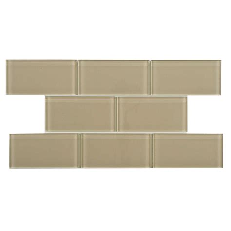 Home Depot Subway Tile by Merola Tile Tessera Subway Sandstone 3 In X 6 In Glass