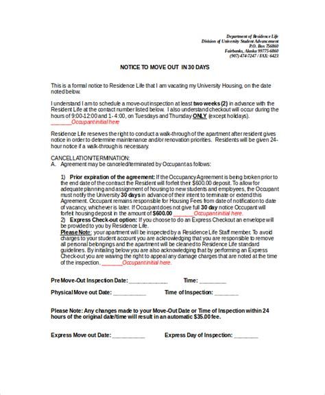 notice to move out template 30 day notice 10 free word pdf documents