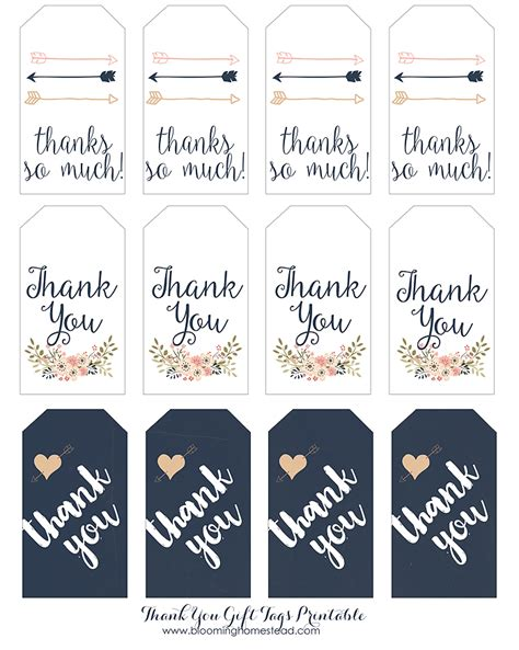 Thank You Card Tag Template by Thank You Gift Tags Blooming Homestead