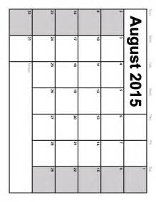 Printable 2015 Monthly Calendar Template by Printable Blank Monthly Calendars 2015 Calendar Template