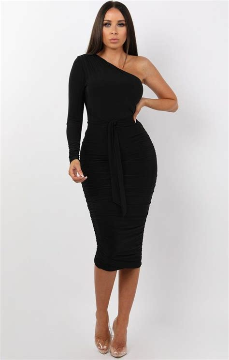 black  shoulder ruched slinky midi dress midi dress