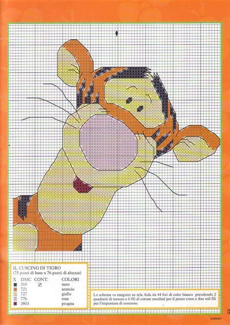 cuscini a punto croce schemi cuscino schema punto croce con tigro personaggio winnie