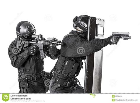 Swat White swat officers with ballistic shield stock photo image 60780126