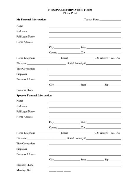 personal information form template word best photos of personal information template employee