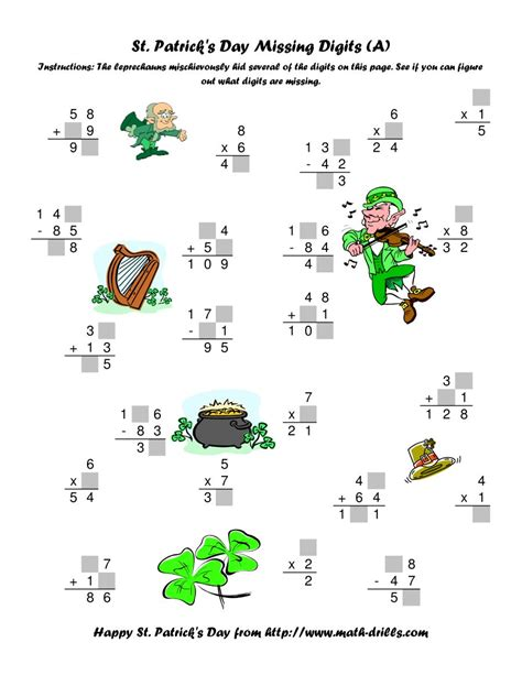 place value right left center game st patrick s day st patrick s day mixed operations with missing digits a