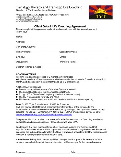 coaching contracts templates 8 best images of executive coaching agreement template