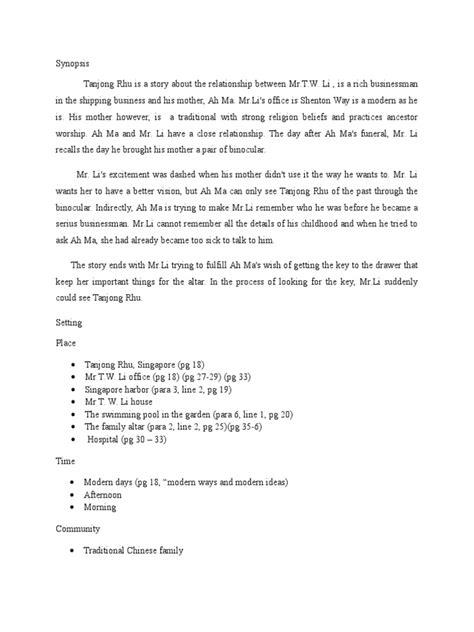 themes tanjong rhu literature form 4 tanjong rhu synopsis