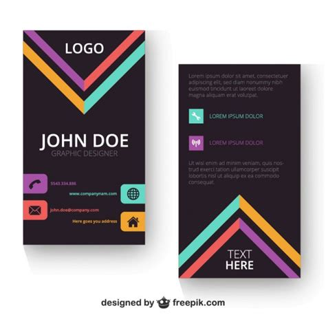vertical business card template vector free