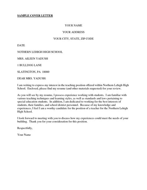 Cover Letter Format Teaching cover letter for high school teaching position choice