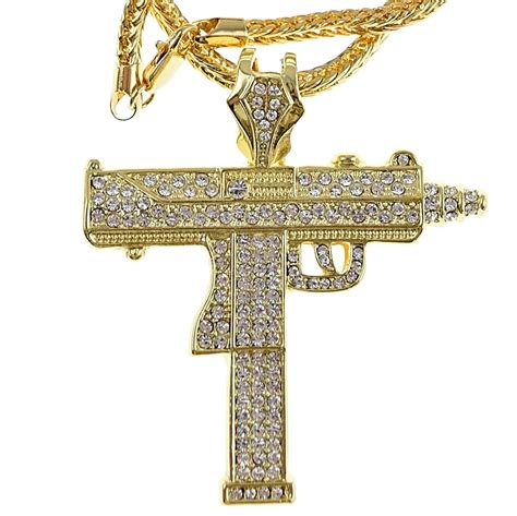 uzi gun pendant franco chain hip hop chains