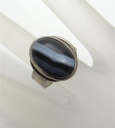 chunky sardonyx agate sterling silver ring size 7 from