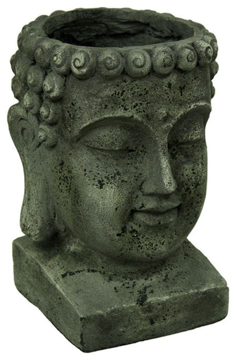 large head planters weathered finish large buddha head planter 13 5 quot tall